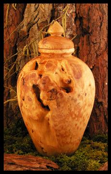Urne aus Wurzelholz